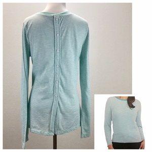 Splendid Cerine Button Back Striped Mint TShirt XL